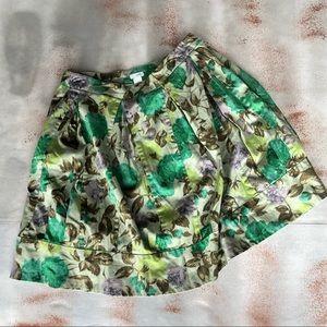 Odille for Anthropologie Green Leaf  Skirt Lined